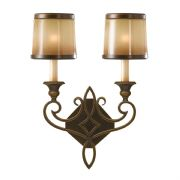 Justine Double Wall Light in an Astral Bronze Finish with Co-Ordinating Glass Shades - FEISS FE/JUSTINE2/B